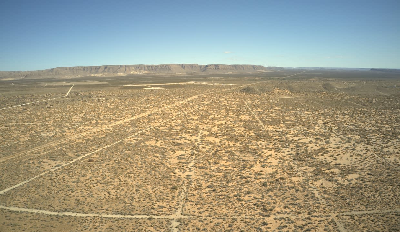 Property facing east towards mountains